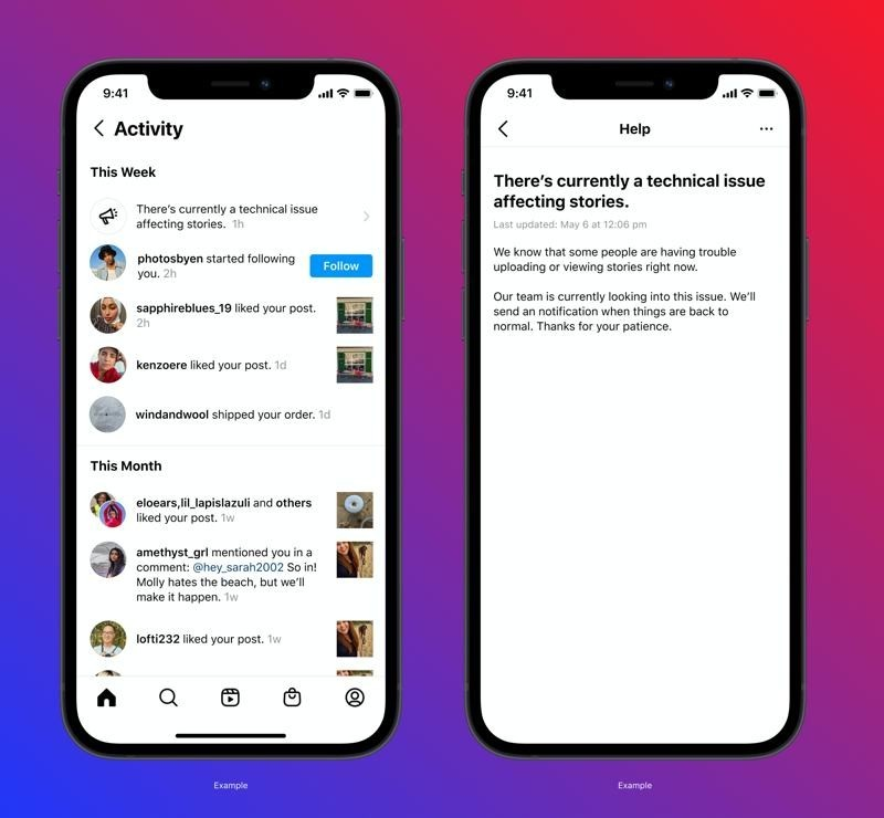 Instagram testing a feature that will alert users when the platform goes down